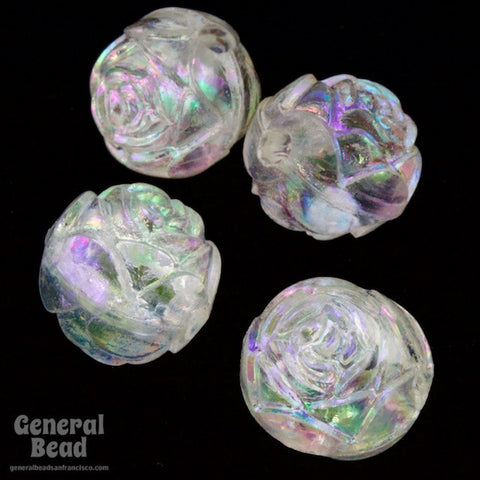 10mm Crystal AB Faceted Rose Bead (25 Pcs) #4756