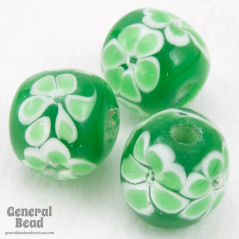 12mm Green with Light Green Flowers Lampwork Bead #4805