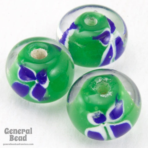 12mm Green and Blue Floral Bead (4 Pcs) #4806
