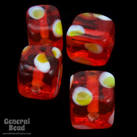 10mm Ruby Cube with Yellow Dots (25 Pcs) #4808