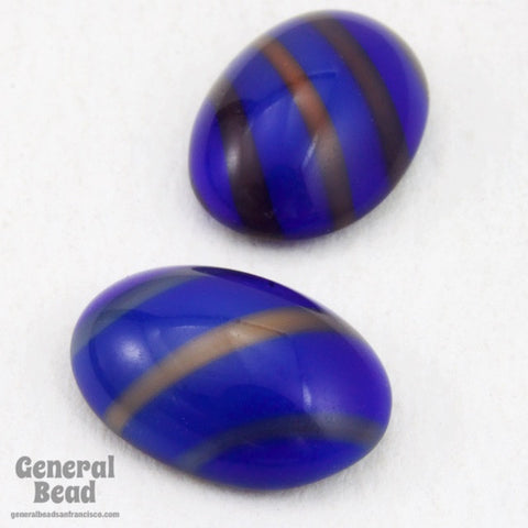 10mm x 14mm Blue/Bronze Stripe Oval Cabochon