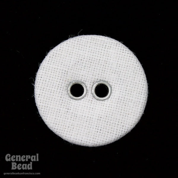 15mm White Cloth Covered Button #4860