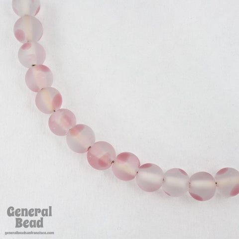 10mm Matte Crystal Bead with Pink Dots (25 Pcs) #4931