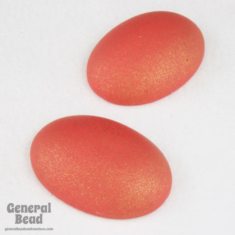 2 Pcs 10mm x 14mm Frosted Orange Oval Cabochon #UP734