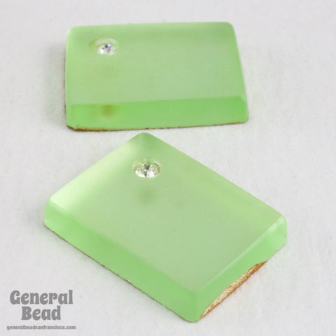 10mm x 15mm Mint Frosted Rectangle with Rhinestone