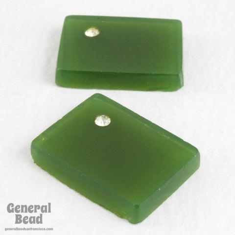 10mm x 15mm Moss Green Rectangle with Rhinestone