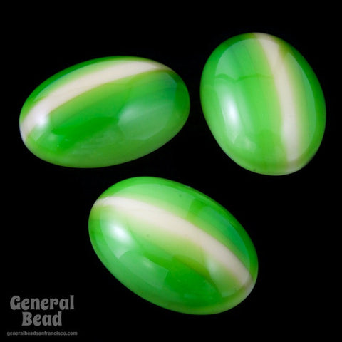 10mm x 14mm Green/Yellow Stripe Oval Cabochon