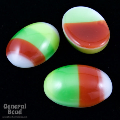 10mm x 14mm Green Brown Stripe Oval Cabochon