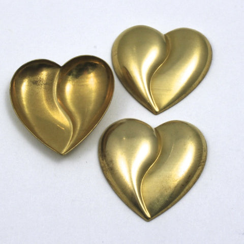 25mm Raw Brass Cleft Heart (2 Pcs) #50-General Bead