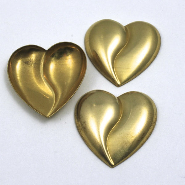 25mm Raw Brass Cleft Heart