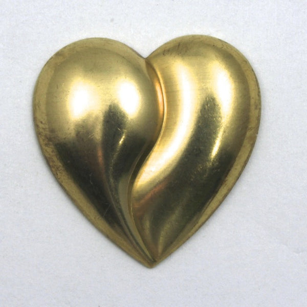 25mm Raw Brass Cleft Heart (2 Pcs) #50
