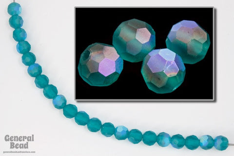 4mm Matte Blue Zircon AB Faceted Round Bead-General Bead