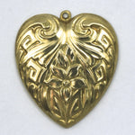 30mm Raw Brass Art Deco Daffodil Heart #51-General Bead