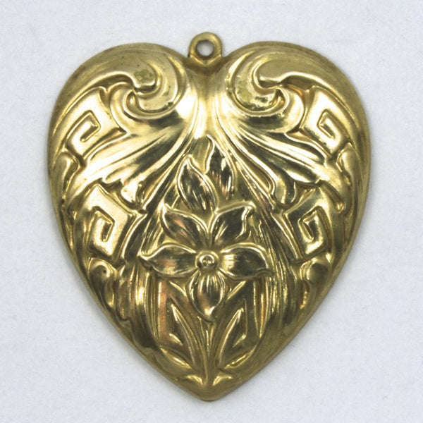 30mm Raw Brass Art Deco Daffodil Heart
