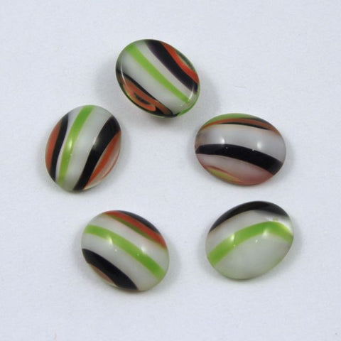 8mm x 10mm Black/White/Green/Orange Stripe Oval Cabochon #522-General Bead