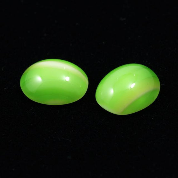 8mm x 10mm Green and Yellow Stripe Oval Cabochon