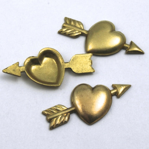 25mm Heart with Cupid's Arrow (4 Pcs) #52-General Bead