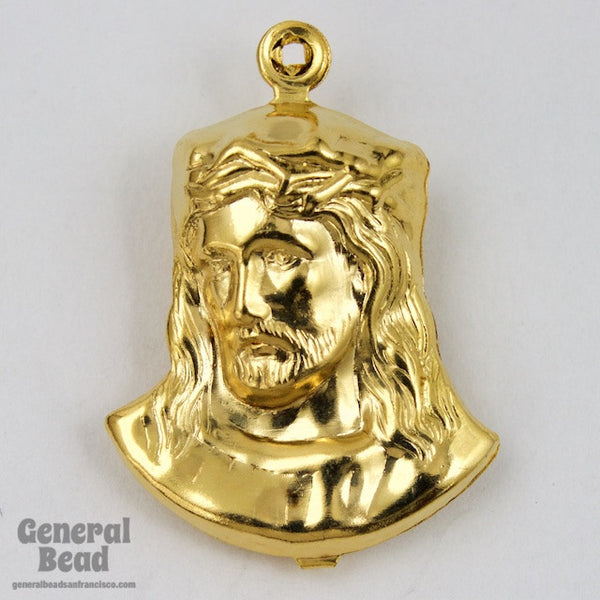 25mm Gold Jesus with Crown of Thorns #5496
