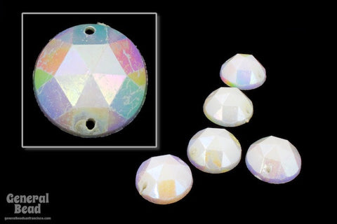 15mm White AB Faceted Sew-On Cabochon (10 Pcs) #5534-General Bead
