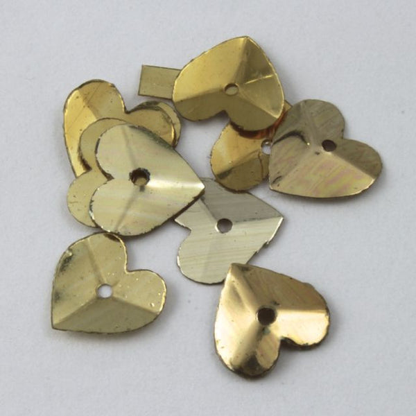 8mm Metallic Gold Heart Sequin