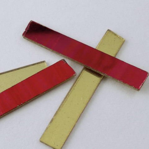25mm Bright Red and Gold Rectangle Sequin-General Bead