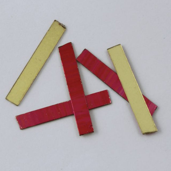 25mm Bright Red and Gold Rectangle Sequin