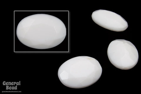 10mm x 14mm Faceted White Oval Cabochon-General Bead