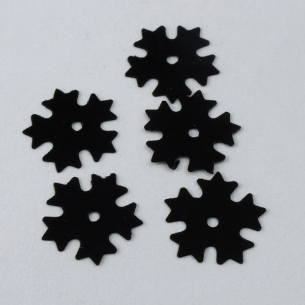 9mm Black Five Petal Flower Sequin