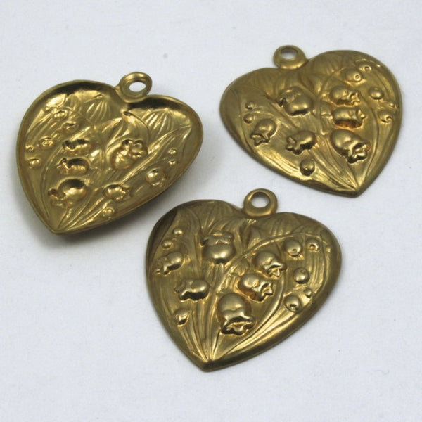 30mm Raw Brass Lily of the Valley Heart