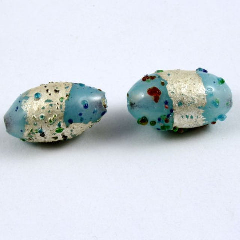 11mm Handmade Turquoise/Silver Bead (6 Pcs) #630-General Bead