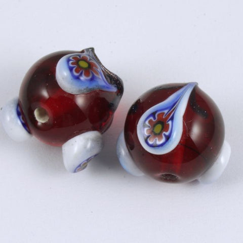 15mm Handmade Ruby Bead (2 Pcs) #638-General Bead