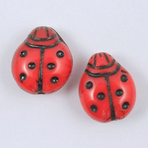 14mm Red Ladybug (4 Pcs) #642-General Bead