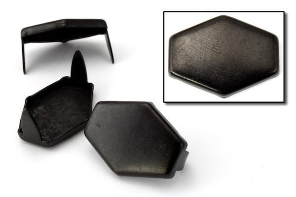 15mm x 20mm Black Flat Hexagon Stud (10 Pcs) #6487
