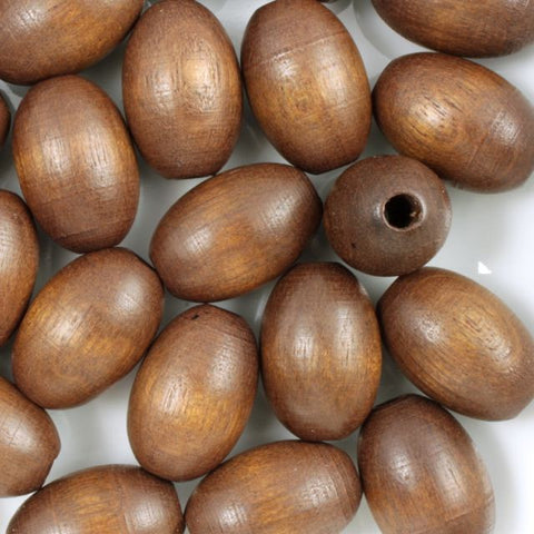 15mm Brown Oval Wood Bead (10 Pcs) #678-General Bead