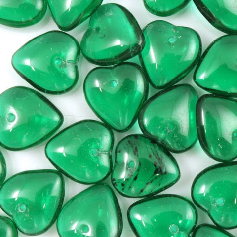 10mm Green Glass Heart (6 Pcs) #681