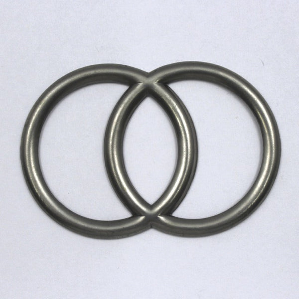 60mm Antique Silver Overlapping Circles