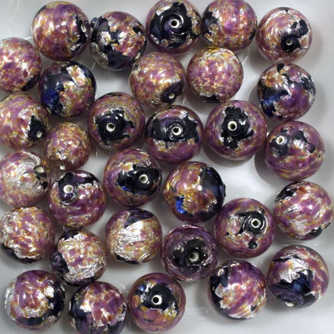Lilac/Black/Silver 14mm Handmade #721