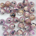 Lilac/Black/Silver 12mm Handmade #724-General Bead