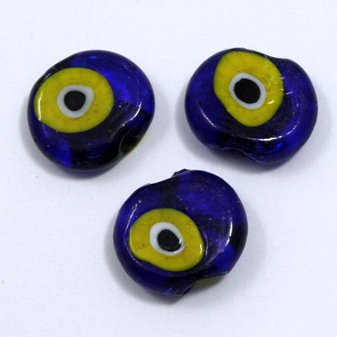 16mm Cobalt and Yellow Evil Eye (4 Pcs) #733-General Bead