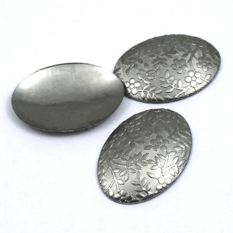 18mm x 25mm Steel Domed Floral Oval-General Bead