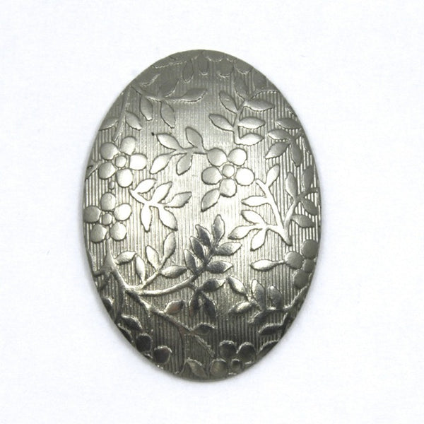 18mm x 25mm Steel Domed Floral Oval