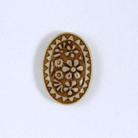 10mm x 14mm Brown on Beige Oval Cabochon #XS73-E-General Bead