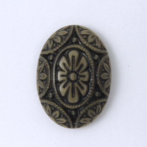 18mm x 25mm Brown on Beige Floral Oval Cabochon #XS73-C-General Bead