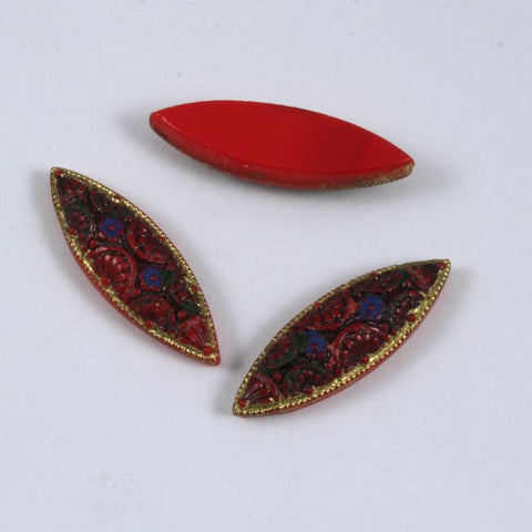 8mm x 25mm Red with Black Inlay Florentine Navette #1097-General Bead