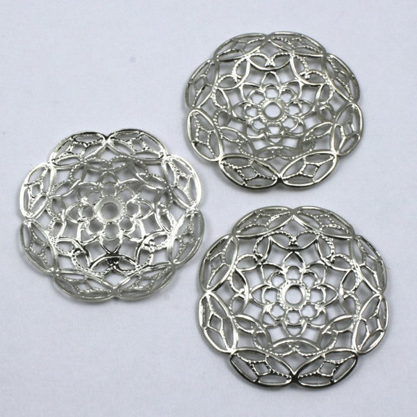 25mm Vintage Silver Floral Filigree