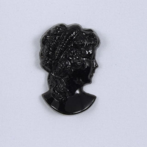 9mm x 14mm Black Glass Lady's Profile Cabochon #XS115-I-General Bead