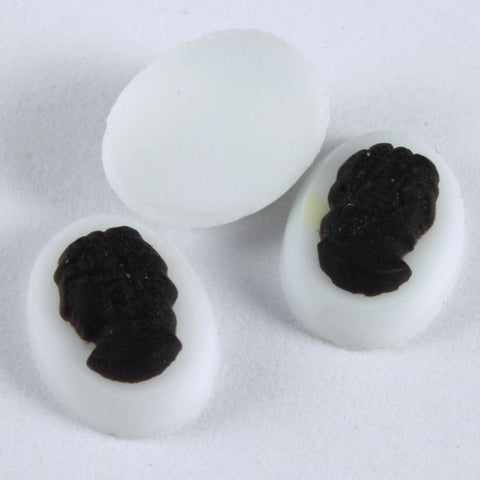6mm x 8mm White and Black Cameo #807-General Bead