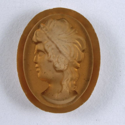 18mm Etched Glass Beige Profile Cabochon #XS116-B-General Bead