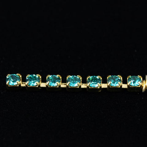 Rhinestone Chain 12ss Blue Zircon/Gold