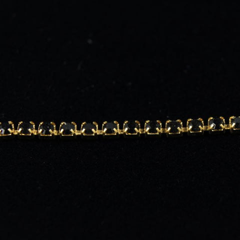 Rhinestone Chain 14pp Jet/Gold-General Bead
